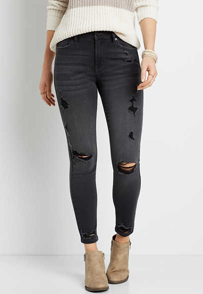 KanCan™ High Rise Black Destructed Skinny Jean
