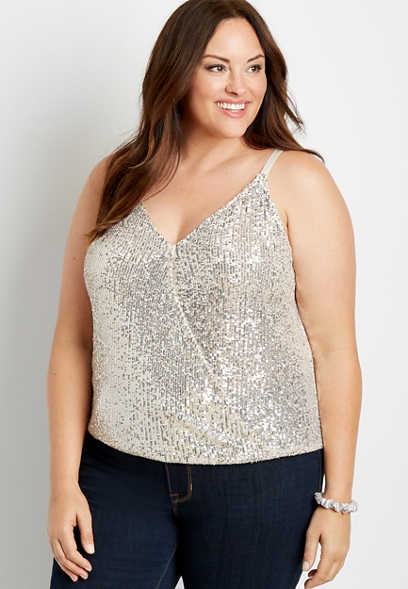 Plus Size Sequin Wrap Tank Top