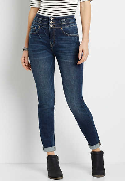 KanCan™ Super High Rise Dark Stacked Waist Girlfriend Jean