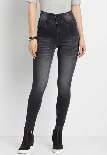 KanCan™ Super High Rise Black Triple Button Skinny Jean