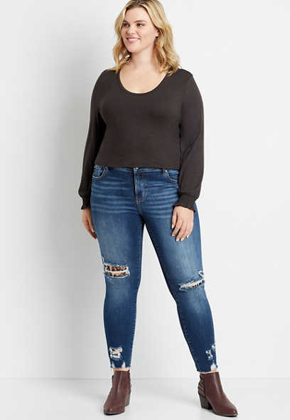 Plus Size KanCan™ Dark Leopard Backed Destructed Skinny Jean