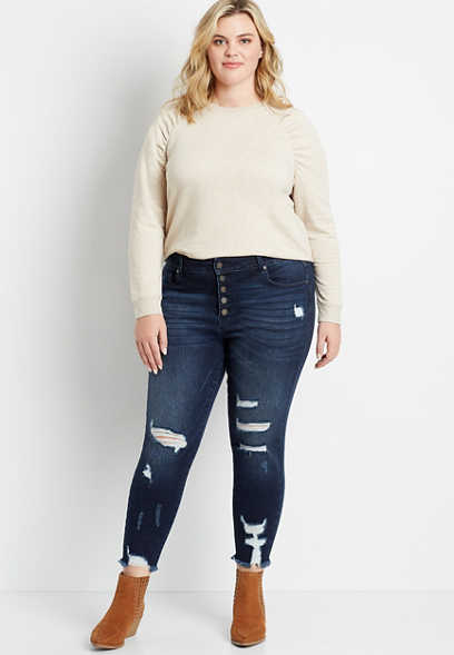 Plus Size KanCan™ High Rise Dark Destructed Button Fly Skinny Ankle Jean