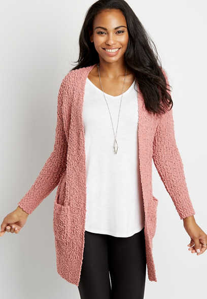 Solid Open Front Pocket Cardigan