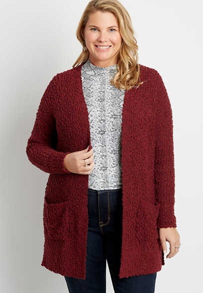 Plus Size Solid Open Front Pocket Cardigan