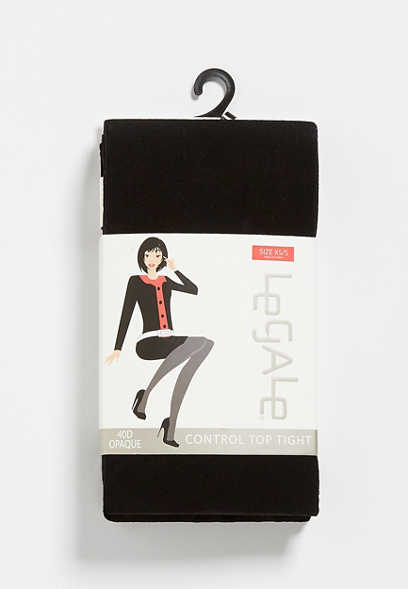 Black 40D Opaque Control Top Tights