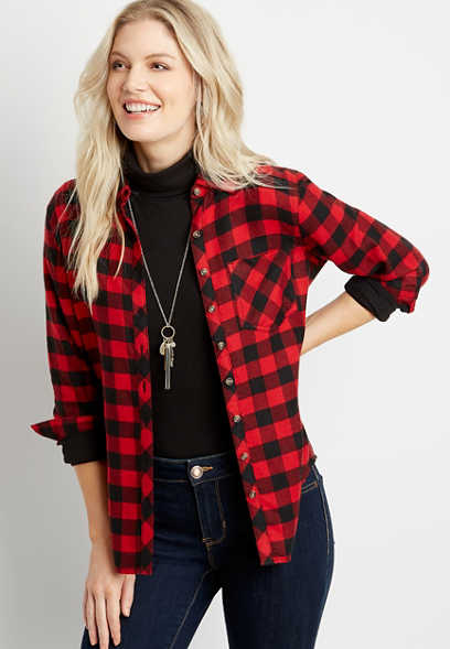 Red Buffalo Plaid Super Soft Button Down Flannel Shirt