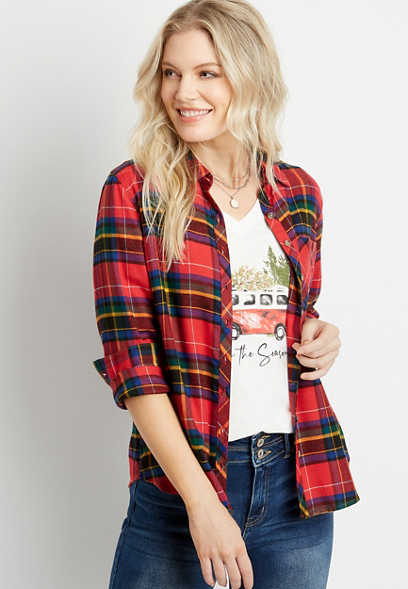 Red Plaid Super Soft Button Down Flannel Shirt