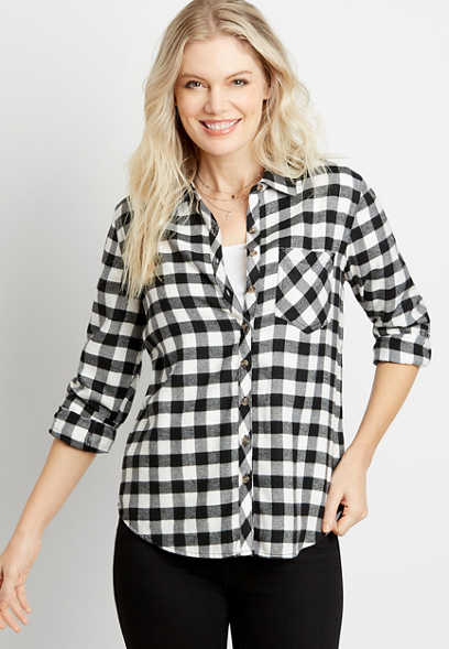 White Metallic Buffalo Plaid Super Soft Button Down Flannel Shirt