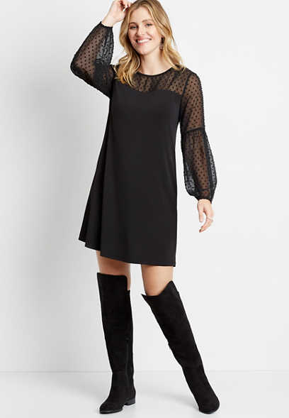 Black Mesh Polka Dot Mini Dress