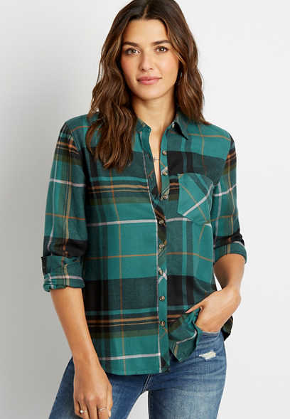 Green Plaid Super Soft Button Down Flannel Shirt