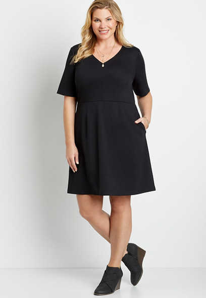 Plus Size Black Pocket Ponte Mini Dress