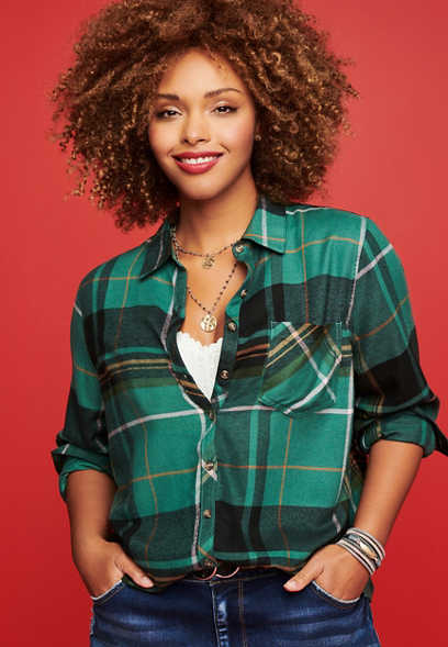 Plus Size Green Plaid Super Soft Button Down Shirt