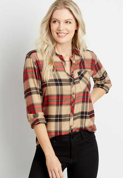 Khaki Plaid Super Soft Button Down Flannel Shirt