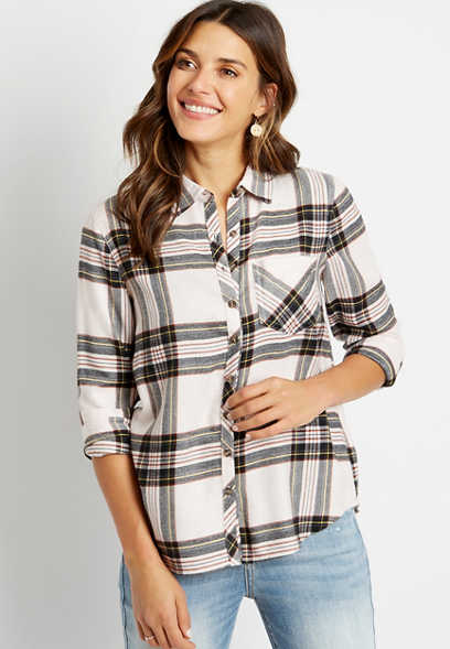 Plaid Super Soft Button Down Shirt