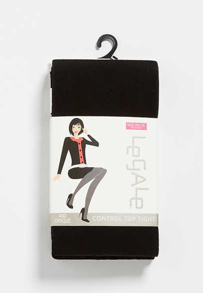 Plus Size Black 40D Opaque Control Top Tights