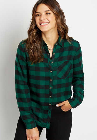 Green Buffalo Plaid Super Soft Button Down Shirt