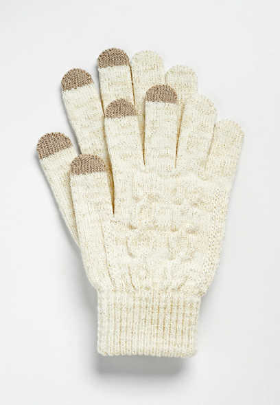 Metallic Ivory Cable Knit Finger Tech Knit Gloves