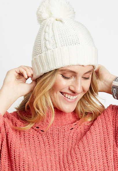 Ivory Cable Knit Pom Hat