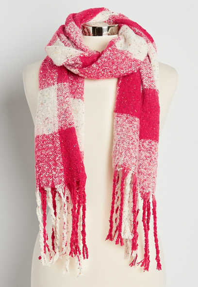 Pink Buffalo Plaid Oblong Scarf