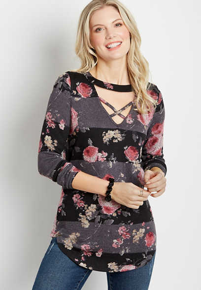 24/7 Black Floral Cut Out Strappy Neck Tunic Tee