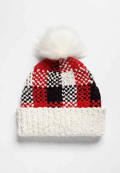 Red Buffalo Plaid Faux Fur Pom Hat
