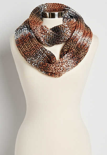 Brown Metallic Spacedye Infinity Scarf