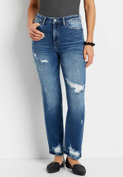 Flying Monkey™ Dark Destructed Straight Leg Jean