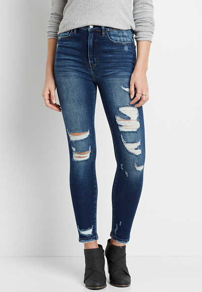 Flying Monkey™ Super High Rise Dark Destructed Skinny Ankle Jean