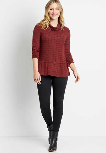 Berry Mock Neck Tie Waist Top