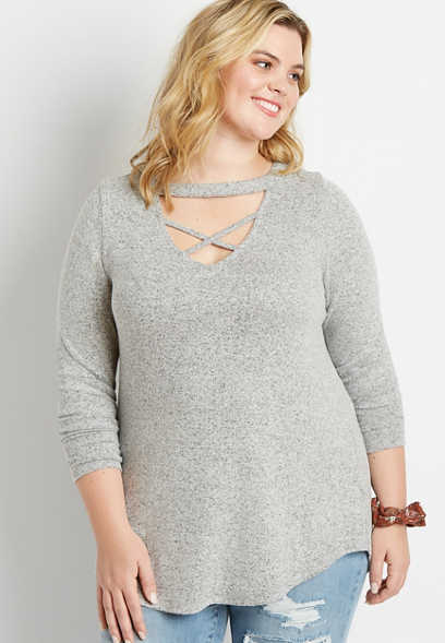 Plus Size 24/7 Solid Cut Out Strappy Neck Tunic Tee