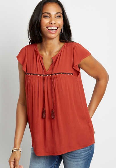 Solid Embroidered Peasant Top