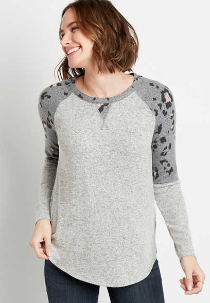 24/7 Gray Leopard Sleeves Cozy Baseball Tee
