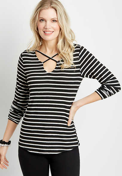 24/7 Black Stripe Strappy Neck Cozy Tee