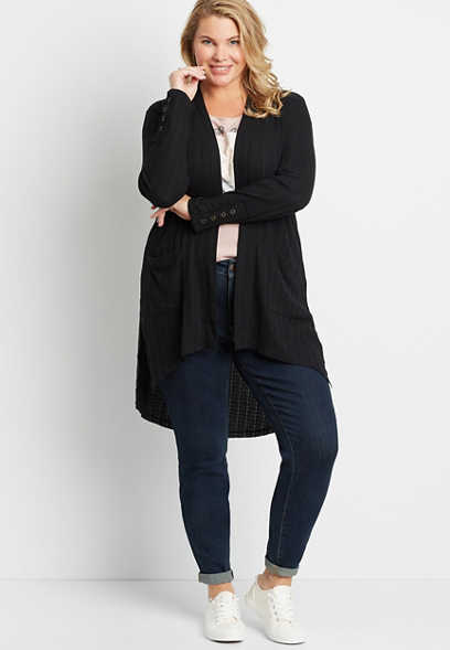 Plus Size Black Snap Sleeve Open Front Duster Cardigan