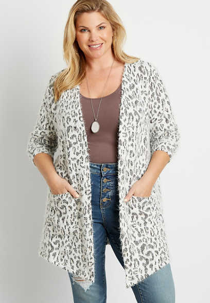 Plus Size White Leopard Cozy Open Front Cardigan