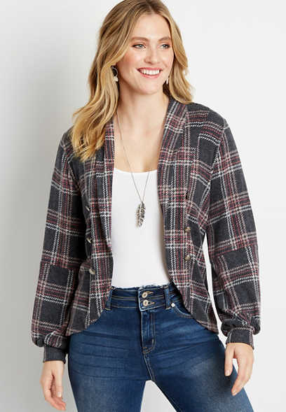 Gray Plaid Lantern Sleeve Open Front Military Cardigan