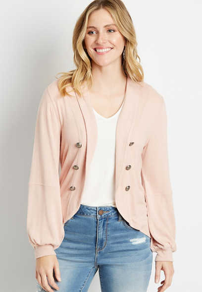 Pink Lantern Sleeve Open Front Military Cardigan