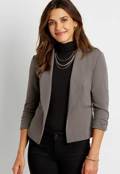 Gray Open Front Blazer