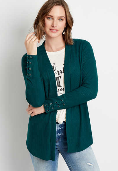Solid Lace Up Sleeve Open Front Cardigan