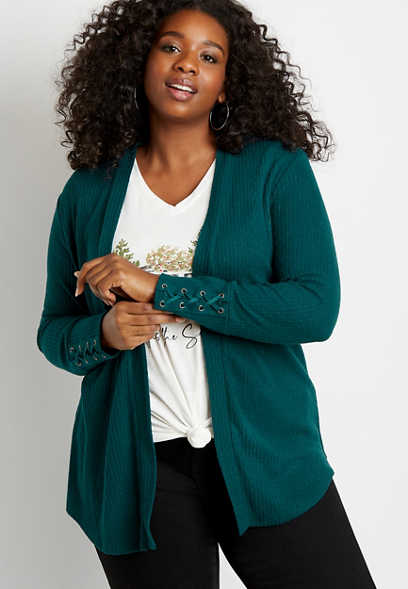 Plus Size Solid Lace Up Sleeve Open Front Cardigan