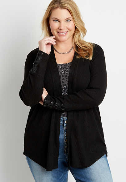 Plus Size Black Lace Up Sleeve Open Front Cardigan