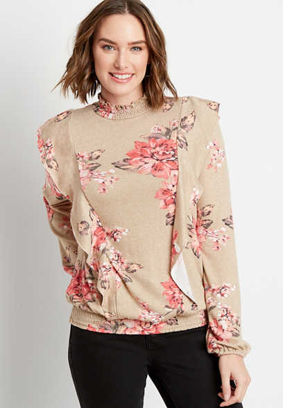 Floral Ruffle Mock Neck Smocked Bottom Top