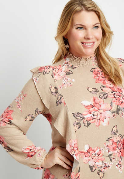 Plus Size Floral Ruffle Mock Neck Smocked Bottom Top
