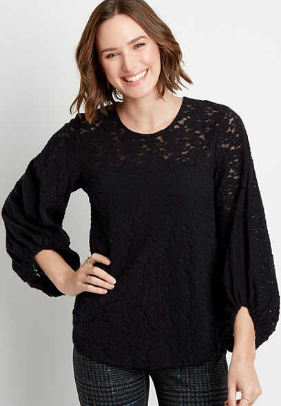 Solid Cozy Lace Balloon Sleeve Top