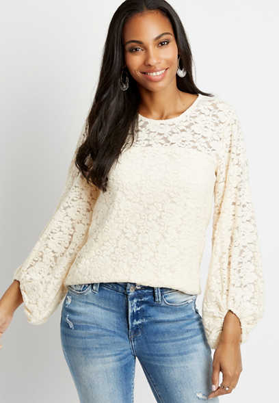 White Cozy Lace Balloon Sleeve Top