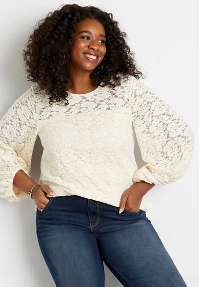 Plus Size White Cozy Lace Balloon Sleeve Top