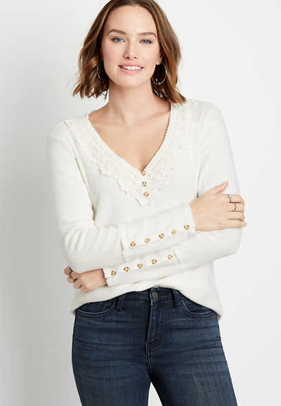 Solid Lace Trim Henley Cozy Ribbed Tee