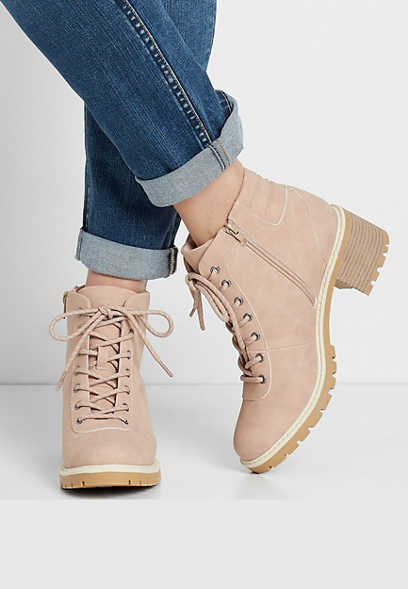 Morgan Blush Lace Up Hiker Boot