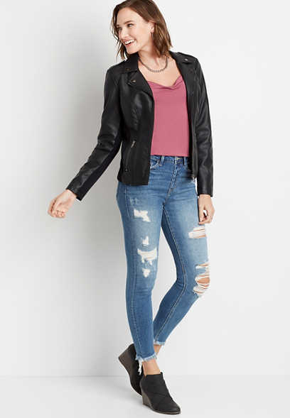 Vervet™ High Rise Destructed Fray Hem Skinny Ankle Jean