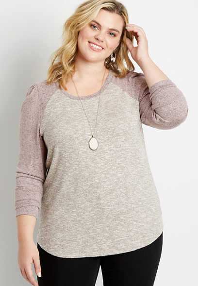 Plus Size 24/7 Pink Puff Sleeve Baseball Tee